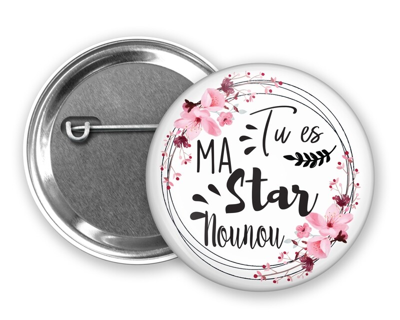 Badge épingle star tata, marraine, mamie, maman, nounou