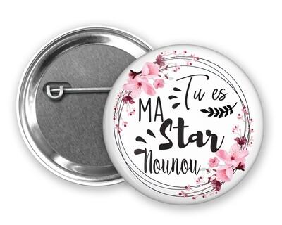 Badge épingle star tata, marraine, mamie, maman, nounou