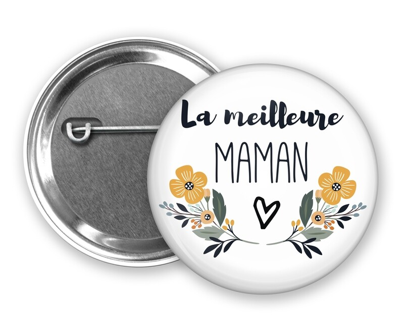 Badge épingle meilleure tata, marraine, mamie, maman, nounou