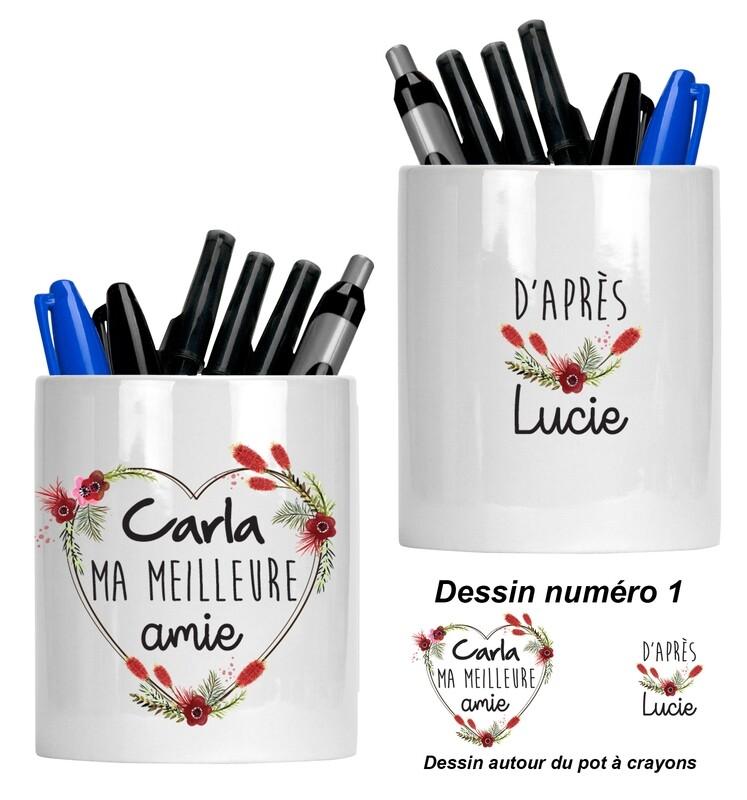 Pot à crayons personnalisable pour collègue, cousine, amie, sœur