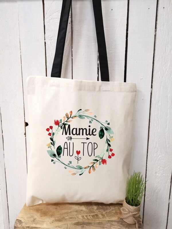 Tote bag personnalisable au top marraine, mamie, tata, etc..