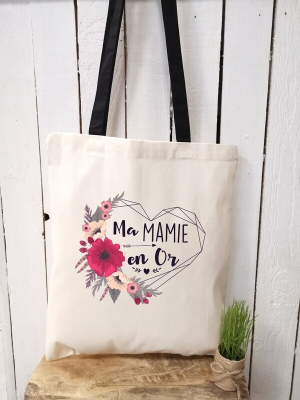 Tote bag en Or personnalisable mamie, tata, etc..