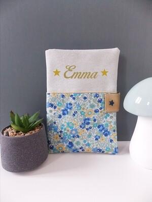 Protège carnet de sante personnalisé, fait main, coton motif fleur vert et tissu pailleté