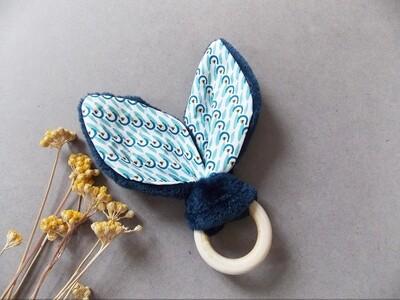 Anneau de dentition, hochet Montessori en bois naturel, motif bleu