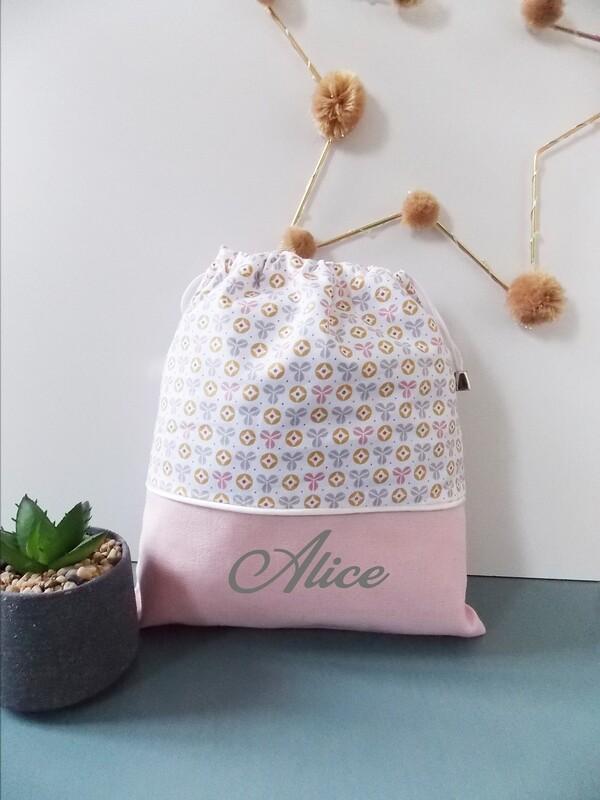 Sac à doudou / sac a goûter prénom personnalisable motif pastel rose