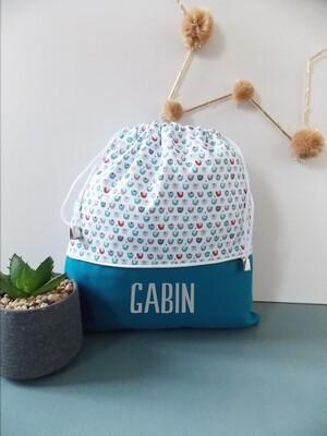 Sac à doudou / sac a goûter prénom personnalisable motif géométrique turquoise