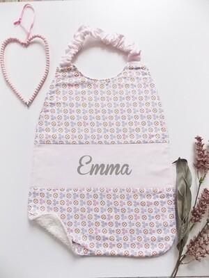 Bavoir serviette prénom personnalisé coton éponge motif fleur pastel