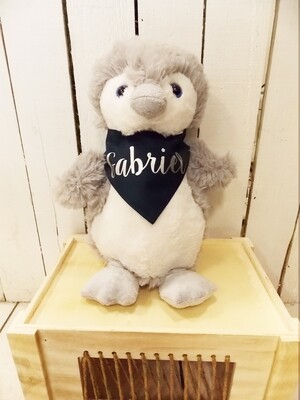 Penguin en peluche personnalisé avec Tee shirt ou bandana.