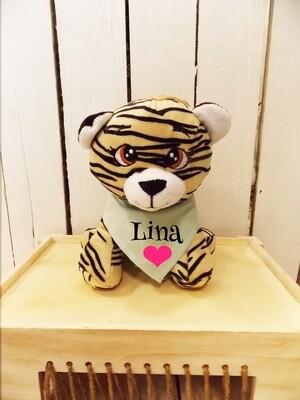 Petit tigre en peluche personnalisé avec  bandana.