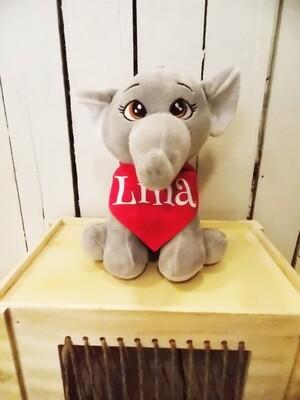 Petit éléphant en peluche personnalisé avec  bandana.