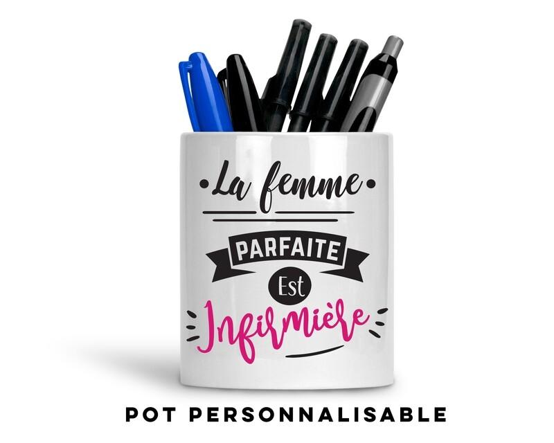 Pot à crayons femme parfaite avec votre mot personnalisable