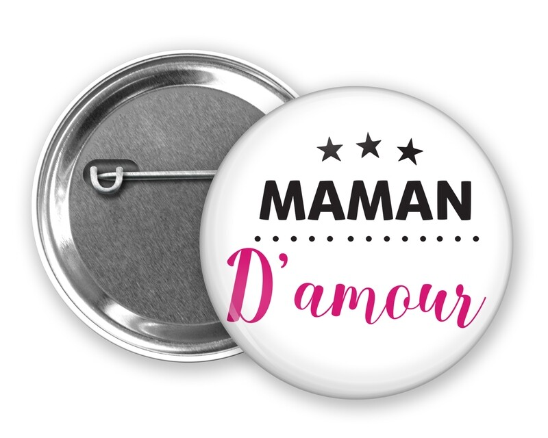 Badge épingle maman mot personnalisable