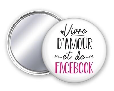 Badge miroir vivre d'amour et votre mot personnalisable