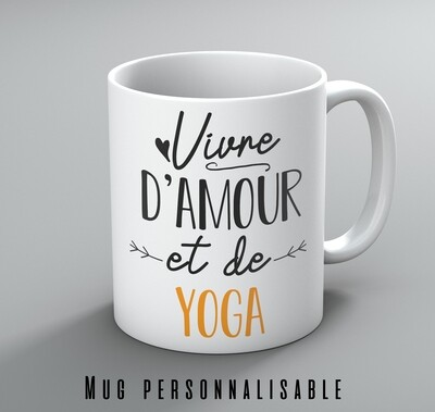 Mug vivre d'amour et de votre mot personnalisable