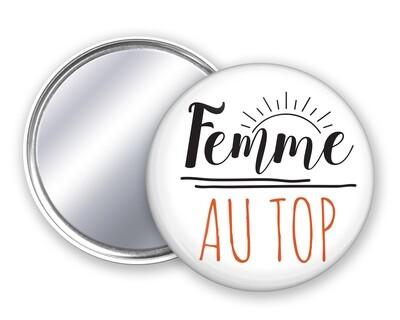 Badge miroir femme votre mot personnalisable