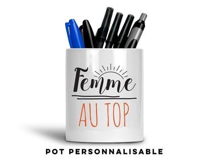 Pot à crayons femme avec votre mot personnalisable