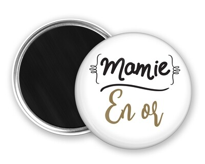Badge magnet mamie et votre mot personnalisable