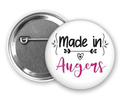 Badge épingle made in et votre mot personnalisable