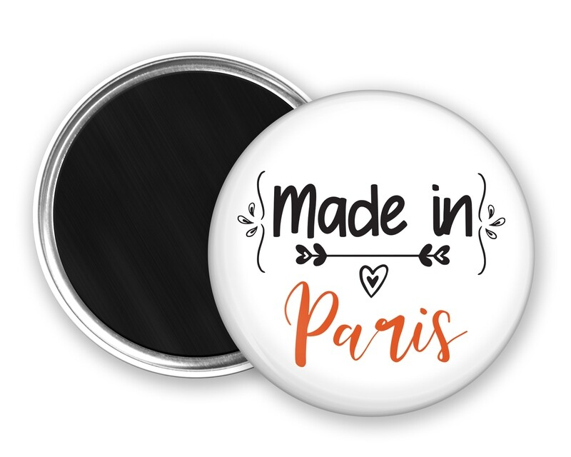 Badge magnet made in et votre mot personnalisable