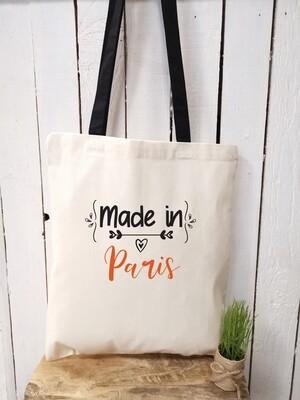Tote bag made in avec votre mot personnalisable