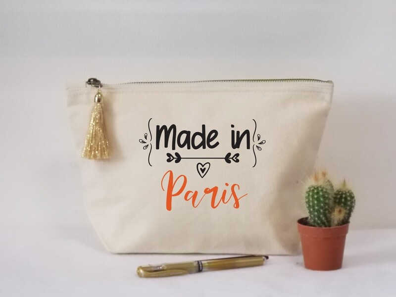 Trousse coton made in personnalisable avec votre mot