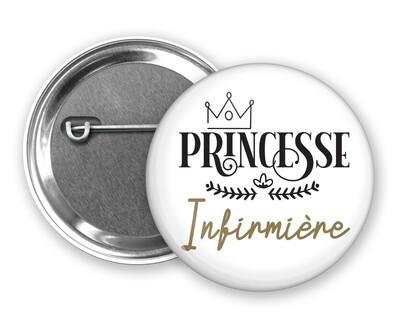 Badge épingle princesse et votre mot personnalisable