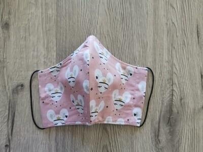 Masque réutilisable de visage, réversible, 100% coton écologique, lavable - fait main - motif souri rose