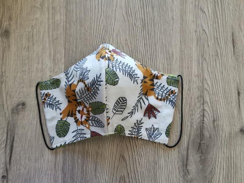 Masque réutilisable de visage, réversible, 100% coton écologique, lavable - fait main - motif jungle tigre