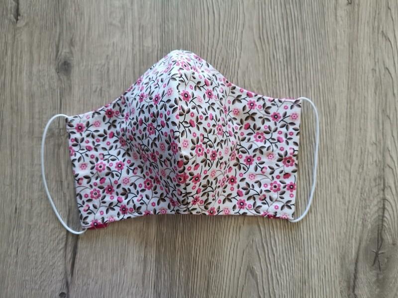 Masque réutilisable de visage, réversible, 100% coton écologique, lavable - fait main - motif fleur rose