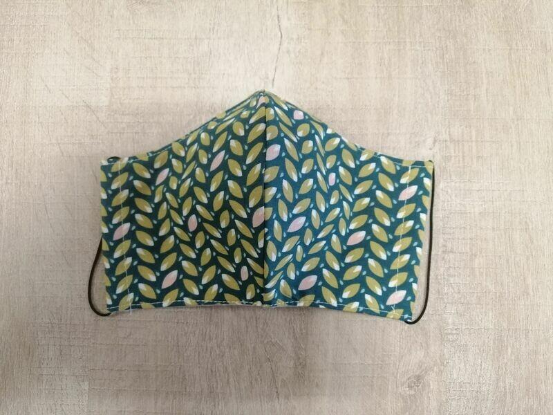 Masque réutilisable de visage, réversible, 100% coton écologique, lavable - fait main - motif feuilles vert
