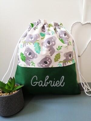 Sac à dos  prénom personnalisable motif koala vert