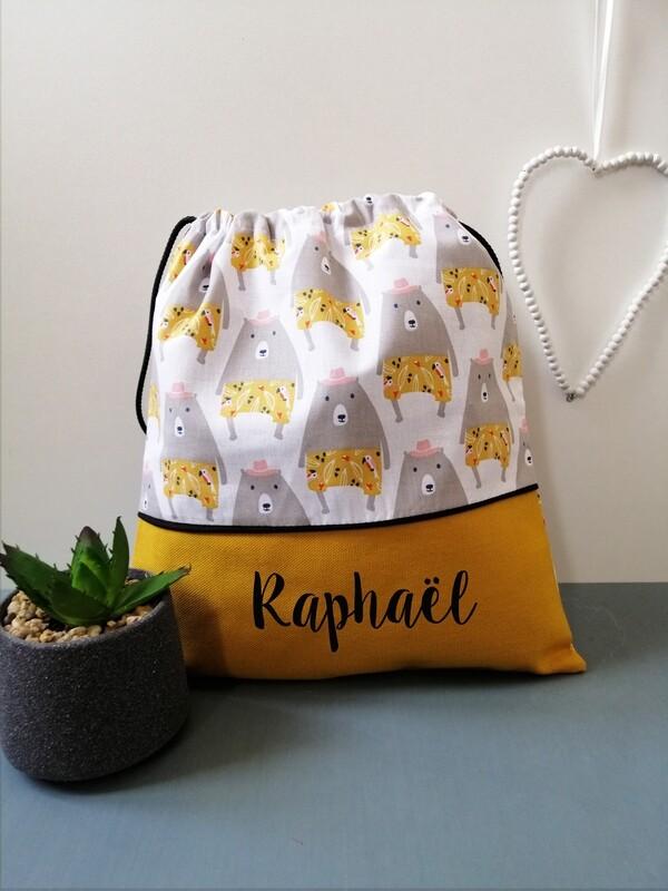 Sac à doudou / sac a goûter prénom personnalisable motif ours jaune