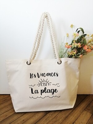 Sac shopping style marin Les Vacances et votre texte personnalisable