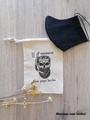 Pochon papa barbu pour masque de protection personnalisable