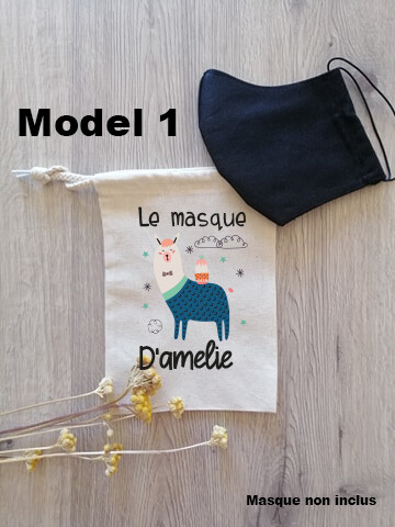 Pochon collection animaux  pour masque de protection personnalisable