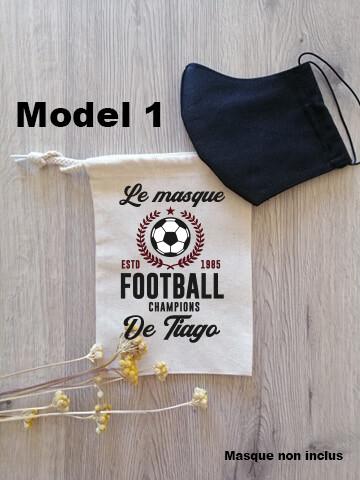 Pochon collection football pour masque de protection personnalisable
