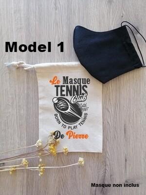 Pochon collection tennis pour masque de protection personnalisable