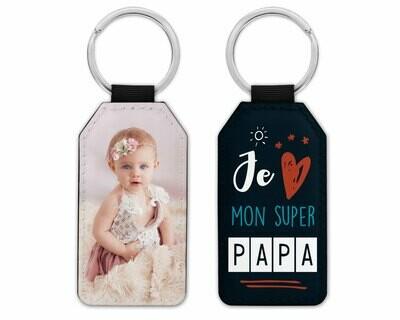 """Porte clés """"Je t'aime papa, papy, parrain"""" avec la photo de votre choix"""