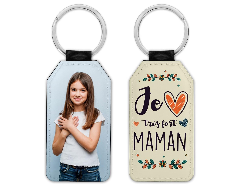 """Porte clés """"Je t'aime maman, mamie, marraine"""" avec la photo de votre choix"""