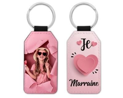 """Porte clés """"Je t'aime cœur rose maman, mamie, marraine"""" avec la photo de votre choix"""