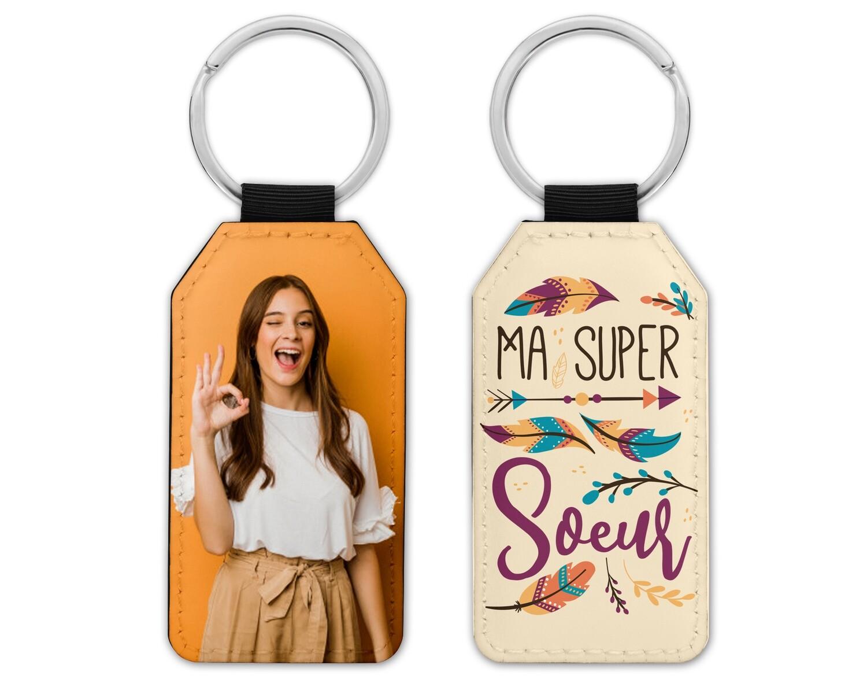 """Porte clés """"Super Soeur, cousine, amie"""" avec la photo de votre choix"""