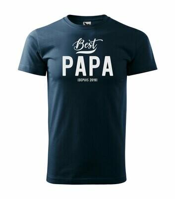 Tee shirt homme Best papa, papi, parrain, année personnalisable