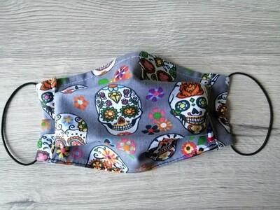 Masque à 2 plis lavable en coton écologique fait main - tête de mort