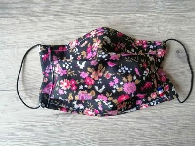 Masque à 2 plis lavable en coton écologique fait main - foret et fleurs
