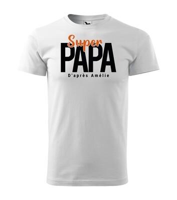 Tee shirt homme super papa, papy, parrain
