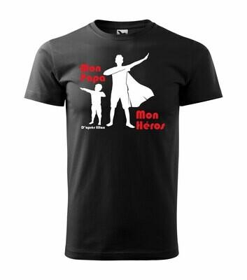 Tee shirt homme mon papa, mon héros