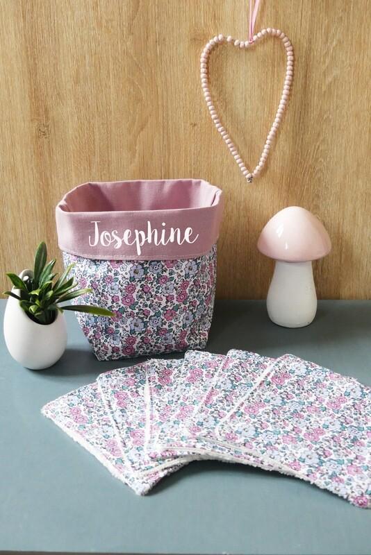 Lingettes lavables tissu écologique fleur rose