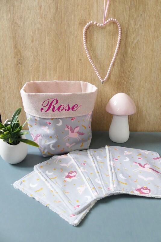 Lingettes lavables tissu écologique licorne