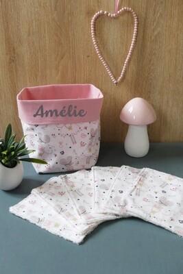 Lingettes lavables tissu écologique souri ballerine