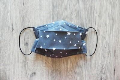 Masque à 2 plis lavable en coton écologique fait main - les étoiles